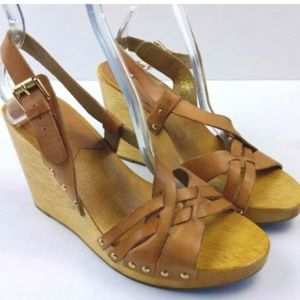 Michael Kors brown leather wooden clogs size 7.5